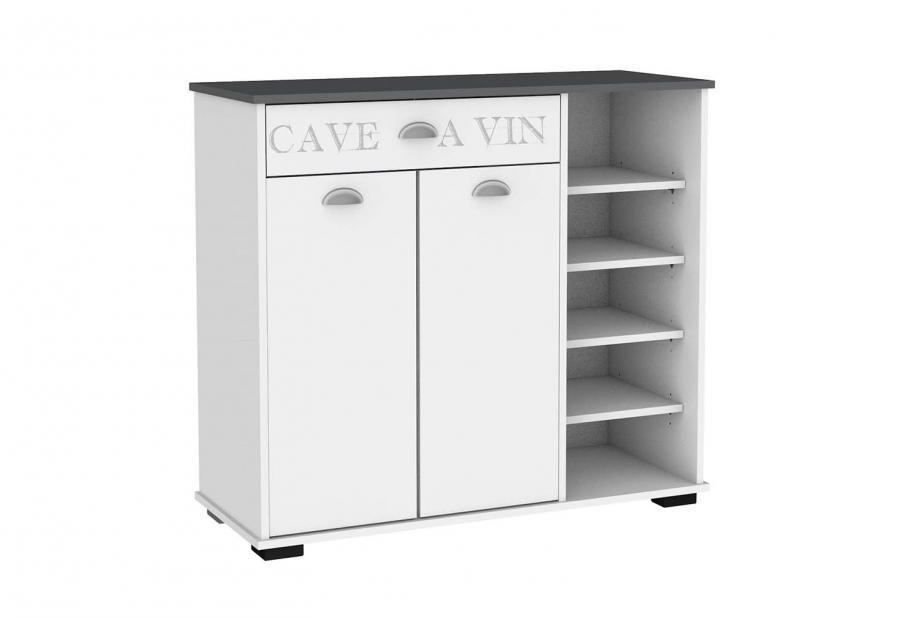 Aparador 2 puertas 1 cajón con estantes moderno y barato en blanco/gris oscuro