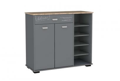 Aparador 2 puertas 1 cajón con estantes moderno y barato en gris grafito/bakery
