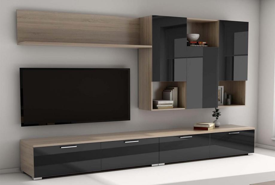 Composición de salón moderna y barata en color roble aserrado y negro brillo 275 cm