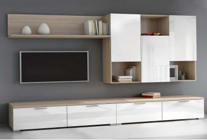 Composición de salón moderno y barato en roble aserrado y blanco brillo 275 cm