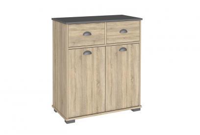 Aparador 2 puertas 2 cajones 1 estante moderno y barato en color aserrado y gris grafito
