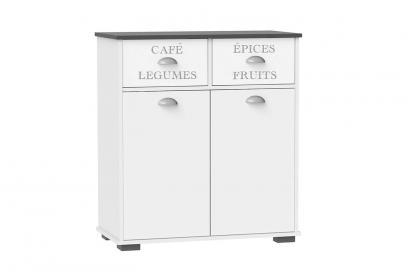 Aparador 2 caj. 2 ptas 1 estante movil moderno y barato en blanco y antracita