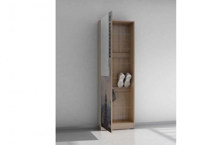 Recibidor con zapatero de varillas 1 puerta moderno y barato color azalea. roble aserrado/empire state
