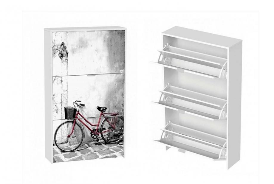 Zapatero 3 trampones moderno y barato blanco/bicicleta dos