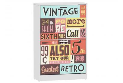 Zapatero 2 trampones moderno y barato en color blanco/time vintage