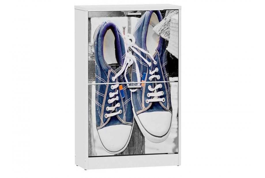Zapatero 2 trampones moderno y barato en color blanco/sneakers hanging.