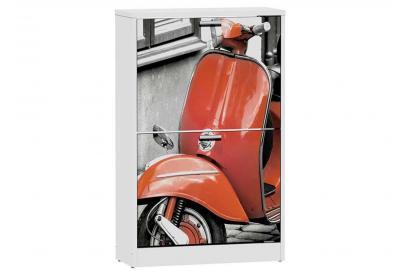 Zapatero 2 trampones moderno y barato en color blanco/red vespa.