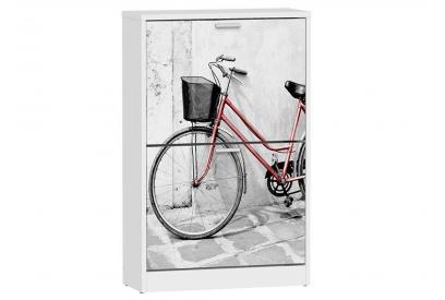 Zapatero 2 trampones moderno y barato en color blanco/bici roja