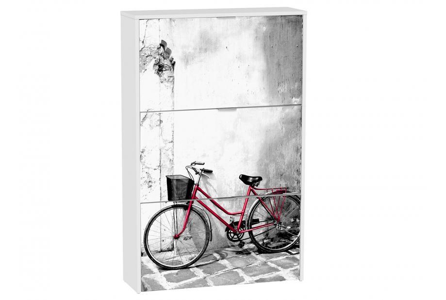Zapatero 3 trampones moderno y barato blanco/bicicleta
