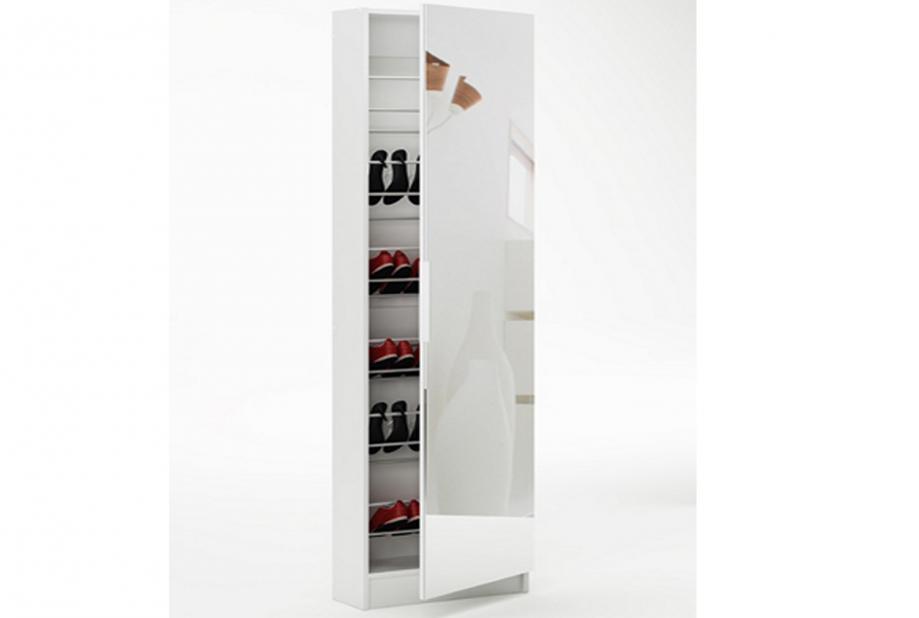 Zapateros liquidatodo zapatero de 1 puerta con espejo for Armario alto zapatero con espejo