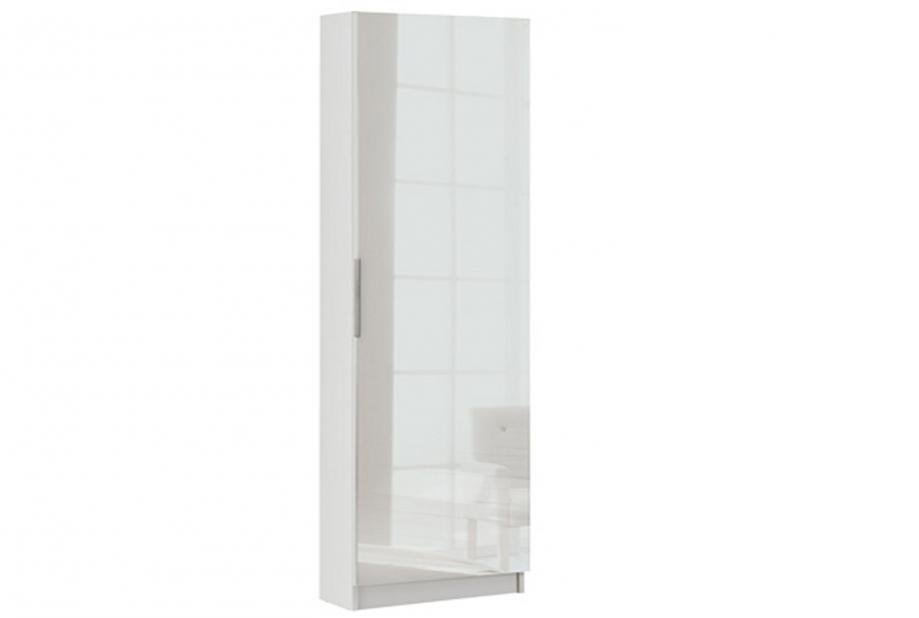 Zapatero de 1 puerta con espejo moderno y barato de 180 cm de alto en color blanco