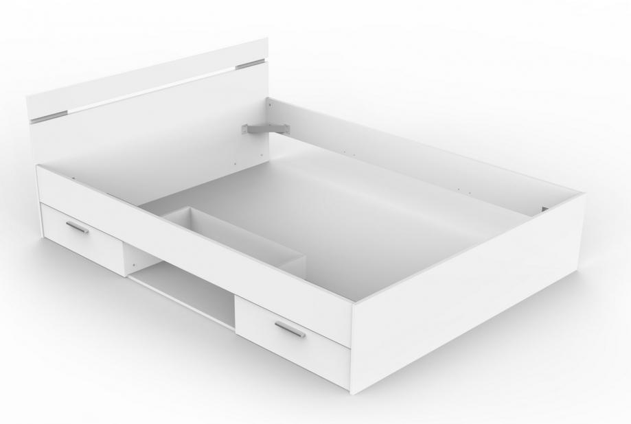 Cama con cajones y zona de almacenamiento moderna y barata de 140 x190 cm en blanco
