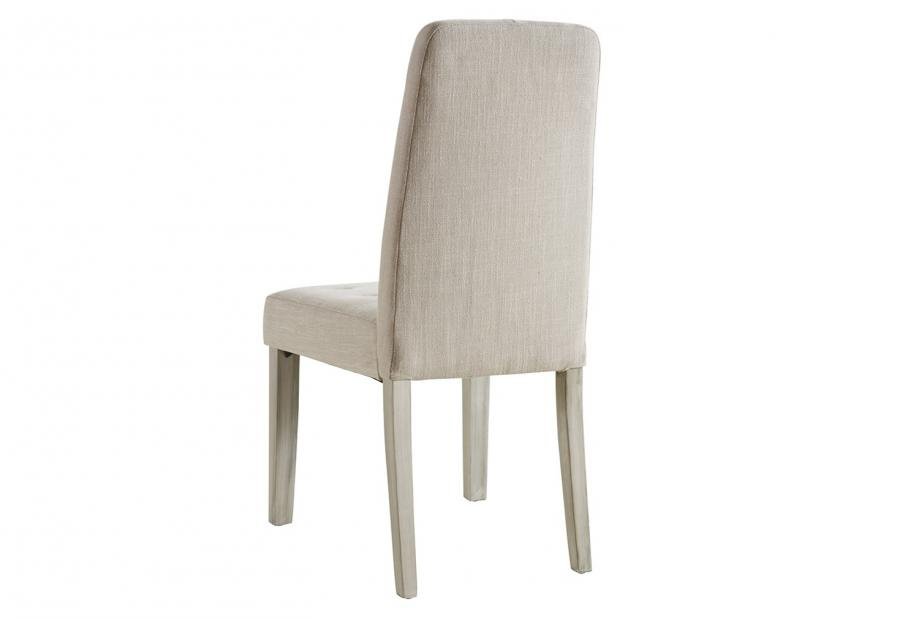 Pack de 2 sillas de comedor modernas y baratas acolchadas y tapizadas en color natural