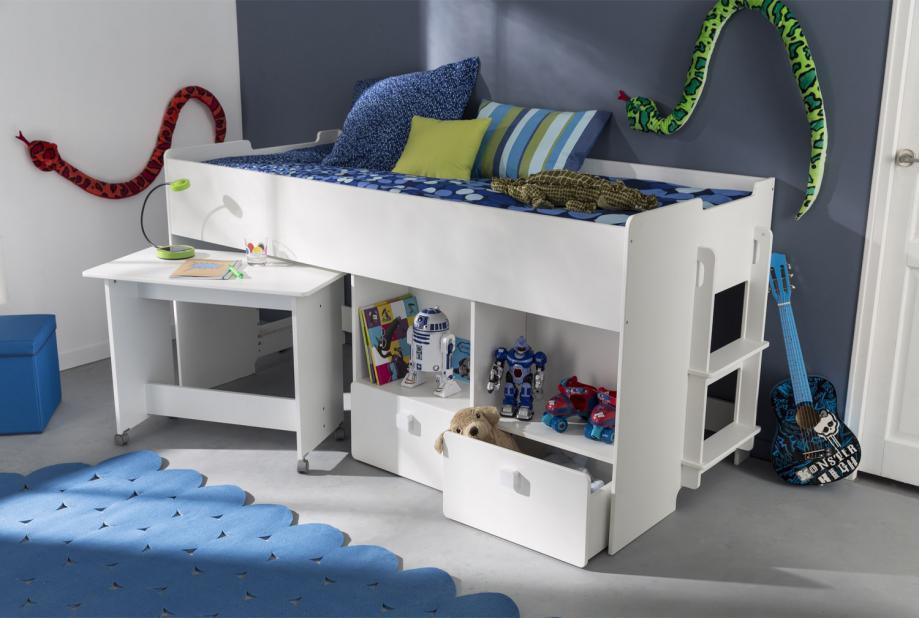 Cama con escritorio moderna y barata de 218 cm en color Blanco
