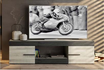 Mueble de tv moderno y barato 2 puertas y 1 hueco color coral y ebony