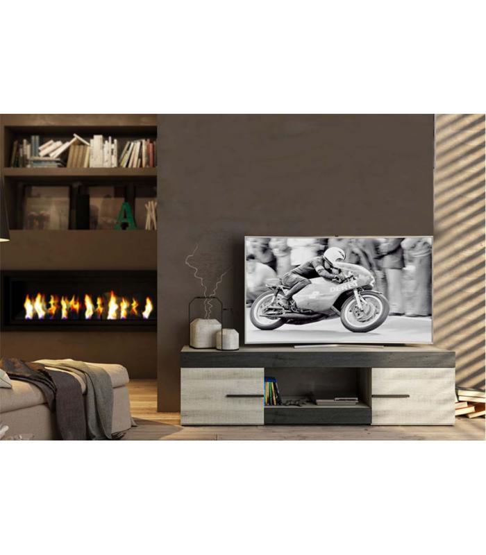 Muebles de tv liquidatodo mueble de tv moderno y barato 2 puertas y 1 hueco color coral y ebony - Mueble television barato ...