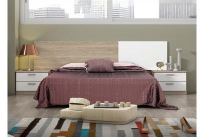 Dormitorio de matrimonio moderno y barato Natural y Blanco compuesto de cabecero y 2 mesitas