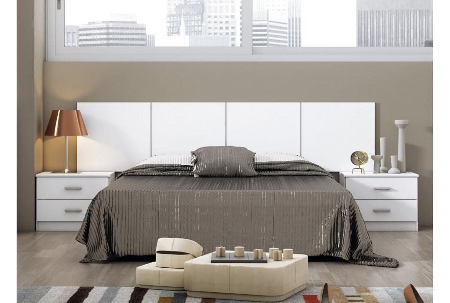 Dormitorio de matrimonio moderno y barato compuesto por cabecero y 2 mesitas