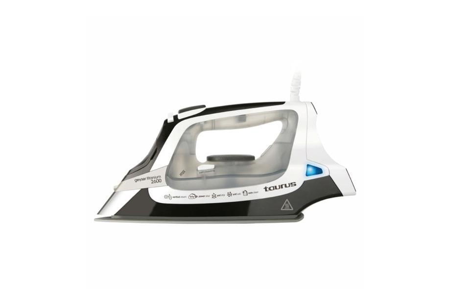 Liquidación de Plancha a vapor con Suela de titanio Taurus Geyser Titanium 2600W Negro, Color blanco
