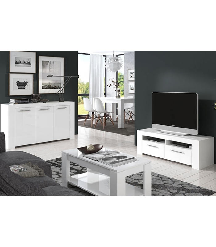 Muebles de tv liquidatodo mueble tv blanco brillo ambit - Mueble tv blanco ...
