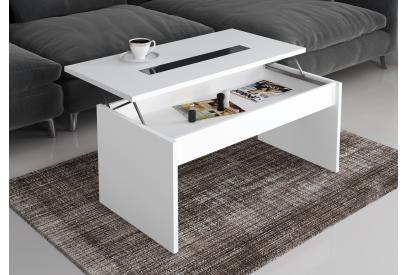 Mesa de centro elevable 94 cm moderna y barata en blanco brillo y cristal negro