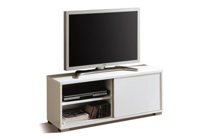 Mesa de TV con puerta corredera en blanco alto brillo north