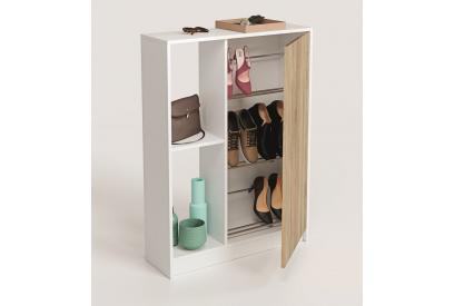 Zapatero de 1 puerta y estanteria en Color Blanco Cambrian