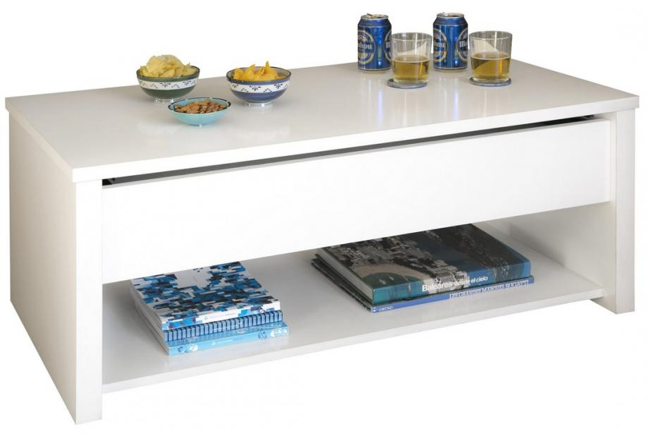 Mesa de centro elevable en blanco alto brillo con revistero north