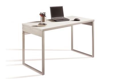 Mesa de despacho de 130 cm en blanco alto brillo