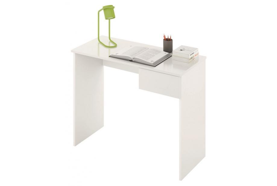 Mesa de estudio con cajón en color blanco alto brillo