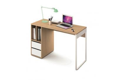 Mesa de estudio de 120 cm en blanco y roble
