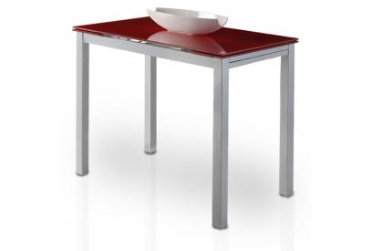 Mesa de cocina extensible con sobre de vidrio Rojo, plateado
