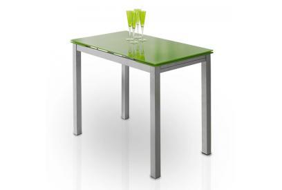 Mesa de cocina extensible con sobre de vidrio Verde, plateado
