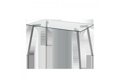 Mesa con sobre de vidrio Transparente, gris