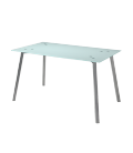 Mesa con sobre de vidrio Blanco, gris