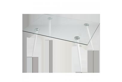 Mesa con sobre de vidrio Blanco, transparente