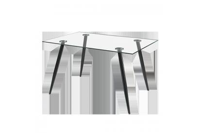 Mesa con sobre de vidrio Transparente, negro