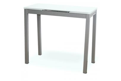 Mesa de cocina extensible con sobre de vidrio Blanco, plateado