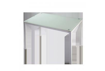 Mesa con sobre de vidrio Blanco, plateado