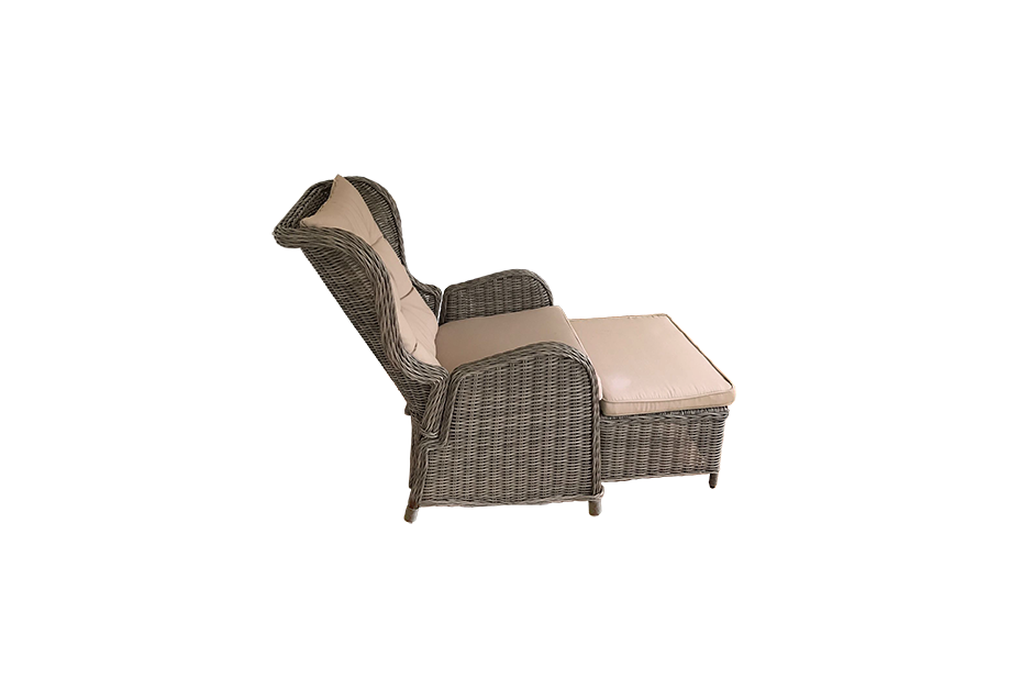 Conjunto de terraza con estructura interna de aluminio, rattan redondo marrón claro,
