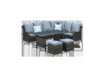 Conjunto terraza en rattan gris marengo con asientos y respaldo gris