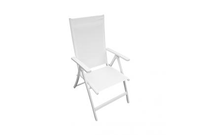 Silla 5 posiciones aluminio y textileno blanco