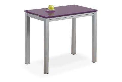 Mesa de cocina extensible con sobre de vidrio Morado, plateado