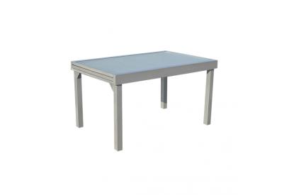 Mesa extendible de jardin en aluminio Gris plata, transparente