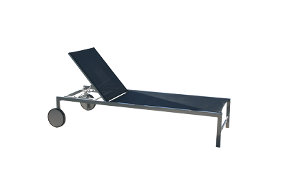 Set 2 Tumbonas 5 posiciones con ruedas de aluminio gris plata y textileno negro