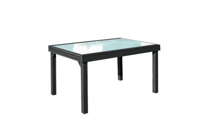 Mesa extendible de jardin en aluminio Gris antracita, transparente