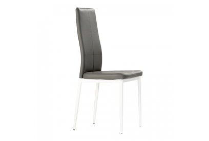 Set de 4 sillas de comedor tapizada en polipiel gris
