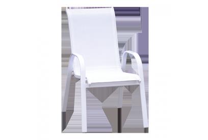 Set de 4 sillas de aluminio y textileno blanco