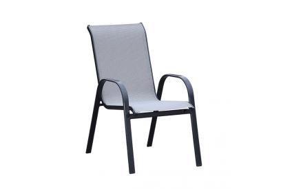 Set 4 sillas fijas alumnio gris antracita, textileno gris