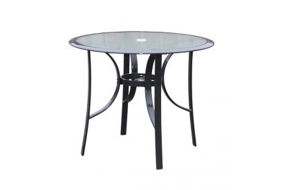 Mesa redonda de terraza en aluminio Gris antracita, transparente